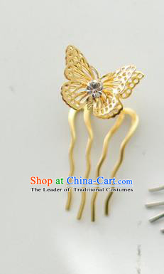 Traditional Korean National Hair Accessories Golden Butterfly Hairpins, Asian Korean Fashion Wedding Hanbok Hair Decorations Headwear for Women