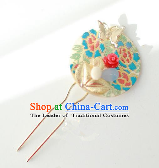 Traditional Korean National Hair Accessories Butterfly Hairpins, Asian Korean Fashion Wedding Hanbok Hair Decorations Headwear for Women