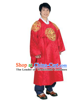Korean National Traditional Handmade Wedding Embroidery Hanbok Costume, Asian Korean Palace Bridegroom Red Dragon Robe for Men
