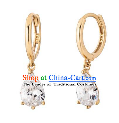 Traditional Korean Accessories 14K Gold Crystal Earrings for Women