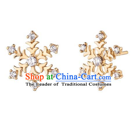 Traditional Korean Accessories 14K Gold Crystal Snow Earrings for Women