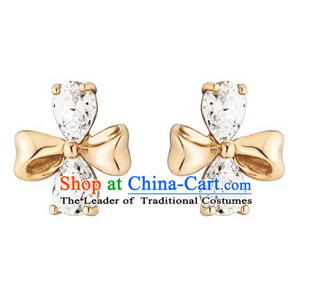 Traditional Korean Accessories 14K Gold Crystal Bowknot Earrings for Women