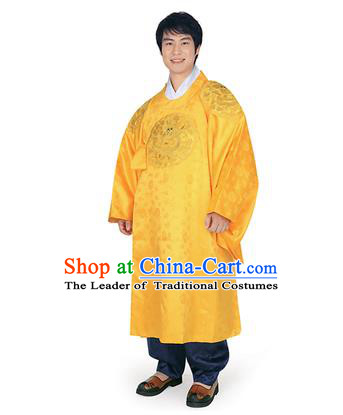 Korean National Traditional Handmade Wedding Embroidery Hanbok Costume, Asian Korean Palace Bridegroom Yellow Dragon Robe for Men