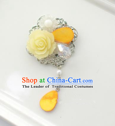 Traditional Korean Accessories Yellow Flower Tassel Brooch for Women