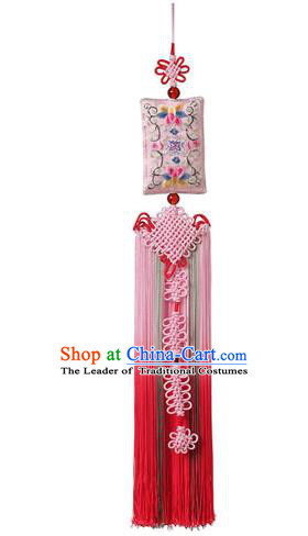 Traditional Korean Accessories Embroidered Waist Pendant, Asian Korean Fashion Wedding Red Tassel Waist Decorations for Women