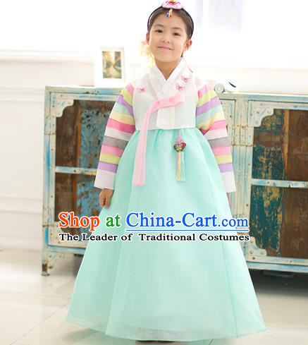 Asian Korean National Traditional Handmade Formal Occasions Girls Embroidery Hanbok Costume White Blouse and Green Dress Complete Set for Kids