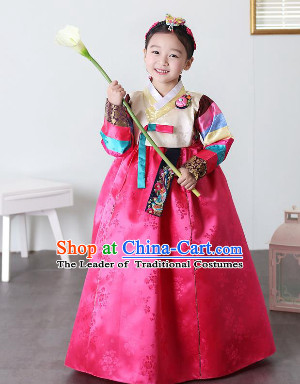 Asian Korean National Traditional Handmade Formal Occasions Girls Embroidery Hanbok Costume Yellow Blouse and Rosy Dress Complete Set for Kids