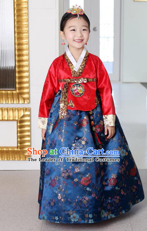 Asian Korean National Traditional Handmade Formal Occasions Girls Embroidery Hanbok Costume Red Blouse and Blue Dress Complete Set for Kids