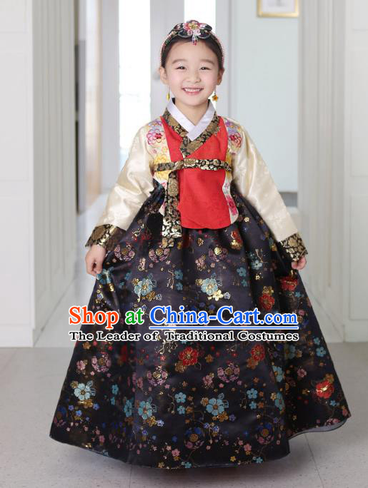 Asian Korean National Traditional Handmade Formal Occasions Girls Embroidery Hanbok Costume Red Blouse and Black Dress Complete Set for Kids