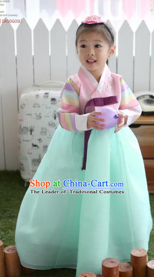 Asian Korean National Traditional Handmade Formal Occasions Girls Embroidery Hanbok Costume Pink Blouse and Green Dress Complete Set for Kids