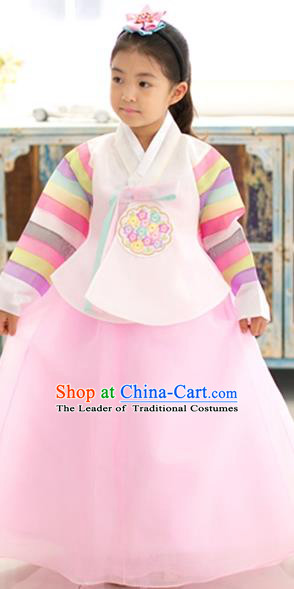 Asian Korean National Traditional Handmade Formal Occasions Girls Embroidery Hanbok Costume White Blouse and Pink Dress Complete Set for Kids