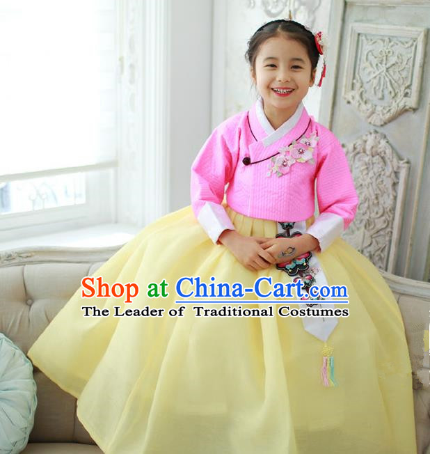 Korean National Handmade Formal Occasions Girls Embroidery Hanbok Costume Pink Blouse and Yellow Dress Complete Set for Kids
