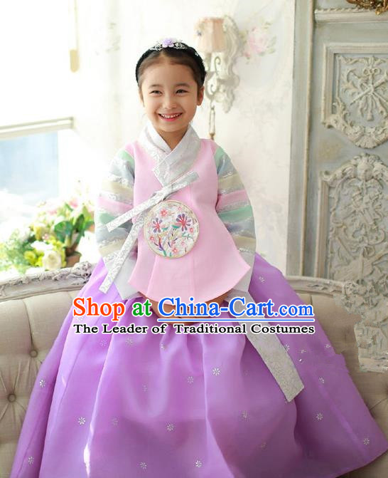Korean National Handmade Formal Occasions Girls Embroidery Hanbok Costume Pink Blouse and Purple Dress Complete Set for Kids