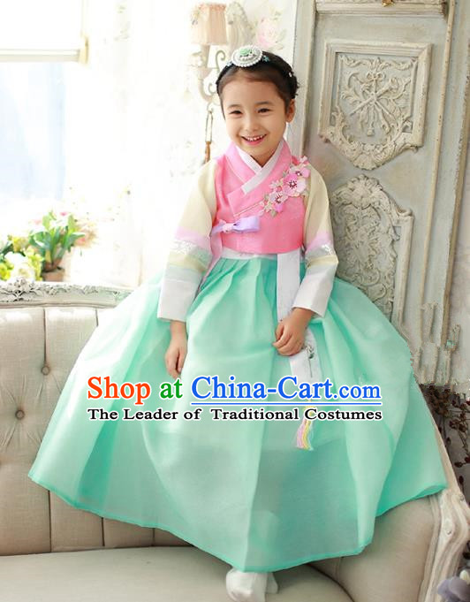 Korean National Handmade Formal Occasions Girls Embroidery Hanbok Costume Pink Blouse and Green Dress Complete Set for Kids