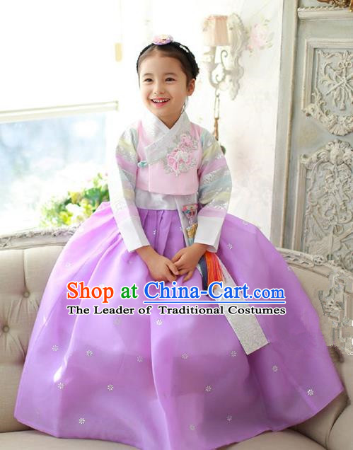 Korean National Handmade Formal Occasions Girls Embroidery Hanbok Costume Pink Blouse and Dress Complete Set for Kids