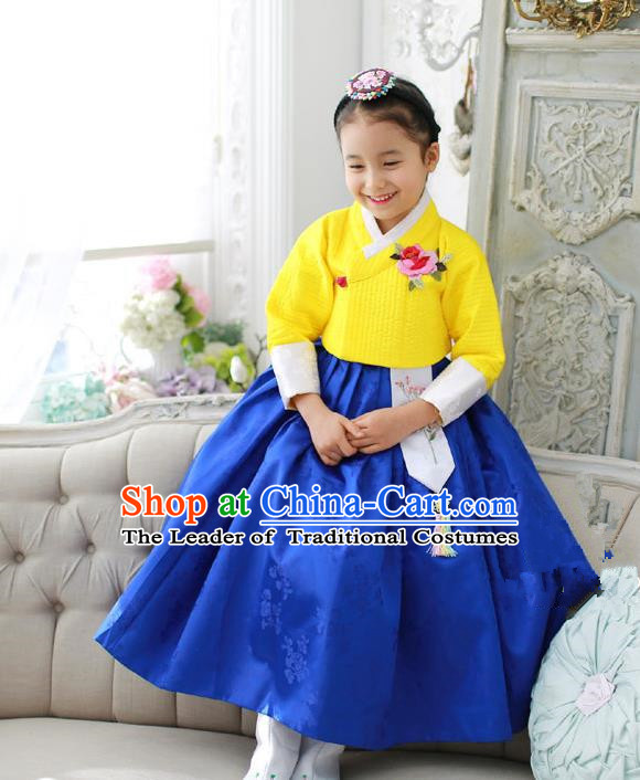Korean National Handmade Formal Occasions Girls Embroidery Hanbok Costume Yellow Blouse and Blue Dress Complete Set for Kids