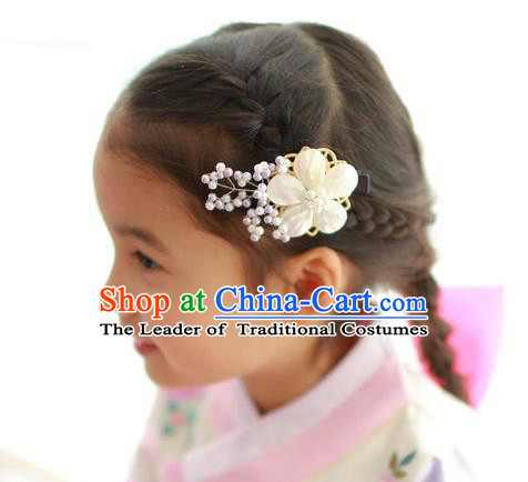 Traditional Korean Hair Accessories Shell Flower Hair Claw, Asian Korean Hanbok Fashion Headwear Hair Stick for Kids