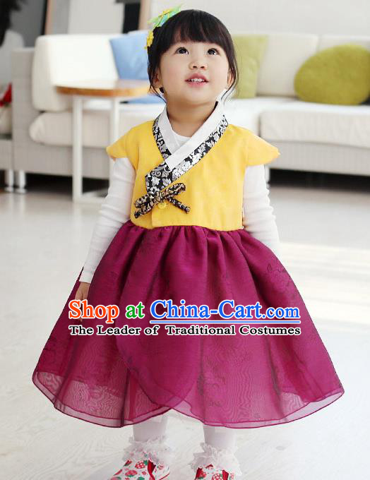 Traditional Korean National Handmade Formal Occasions Girls Embroidery Hanbok Costume Yellow Blouse and Purple Dress Complete Set for Kids