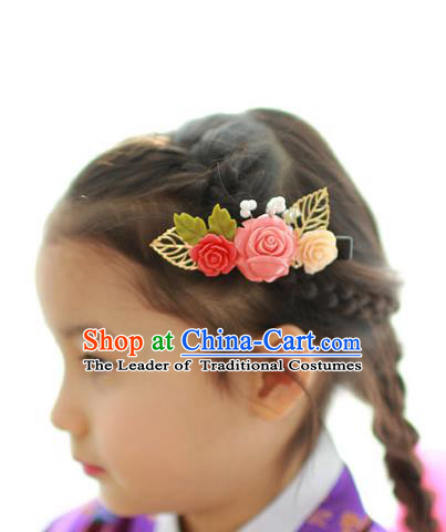 Traditional Korean Hair Accessories Pink Flower Hair Claw, Asian Korean Hanbok Fashion Headwear Hanbok Hair Stick for Kids