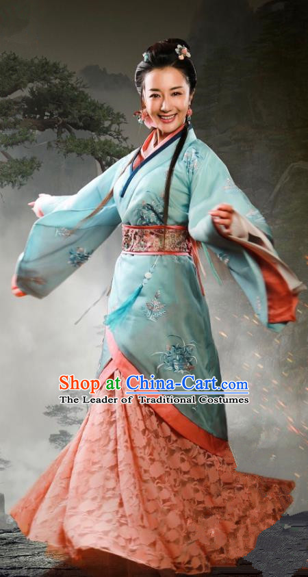 Traditional Chinese Ancient Imperial Princess Costume, Chinese Three Kingdoms Period Palace Lady Embroidered Dress Clothing for Women