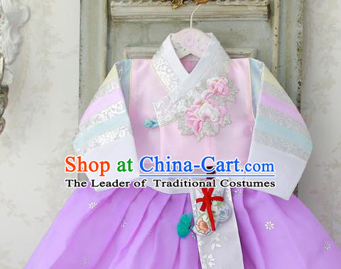 Korean National Handmade Formal Occasions Girls Hanbok Costume Embroidery Pink Blouse for Kids