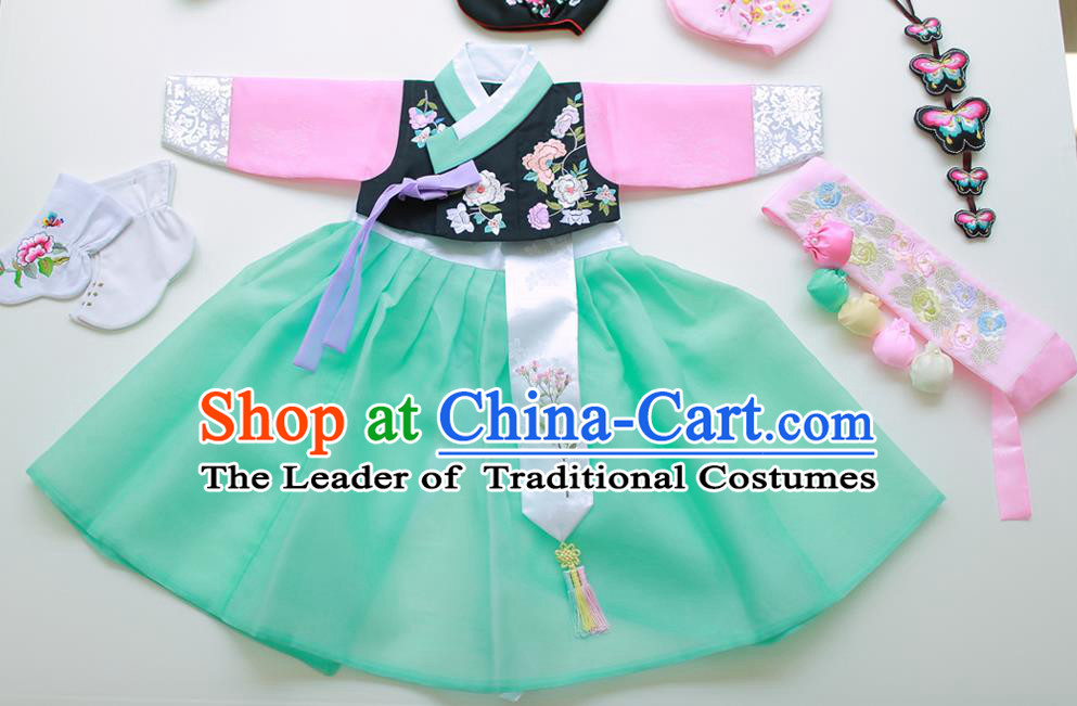 Korean National Handmade Formal Occasions Girls Hanbok Costume Embroidery Black Blouse and Green Dress for Kids