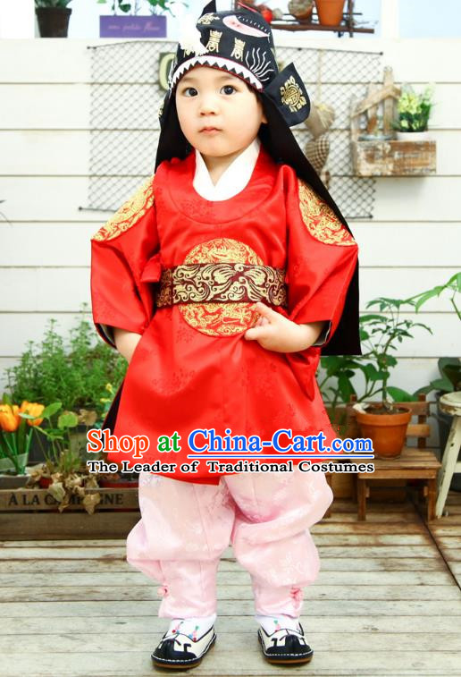 Asian Korean National Traditional Handmade Formal Occasions Emperor Embroidery Red Hanbok Costume Dragon Robe Complete Set for Kids