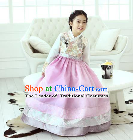 Traditional Korean National Handmade Formal Occasions Girls Hanbok Costume Embroidered Blouse and Pink Dress for Kids