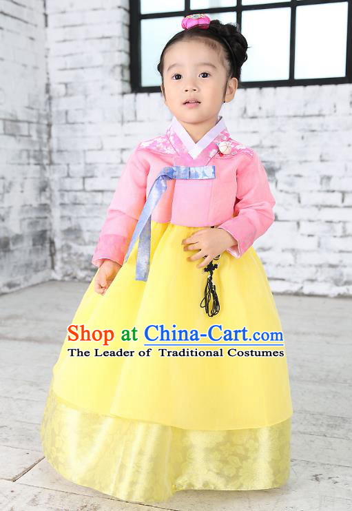 Traditional Korean National Handmade Formal Occasions Embroidered Pink Blouse and Yellow Dress Girls Palace Hanbok Costume for Kids
