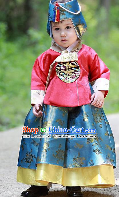 Korean National Handmade Formal Occasions Embroidered Red Blouse and Green Dress, Asian Korean Girls Palace Hanbok Costume for Kids
