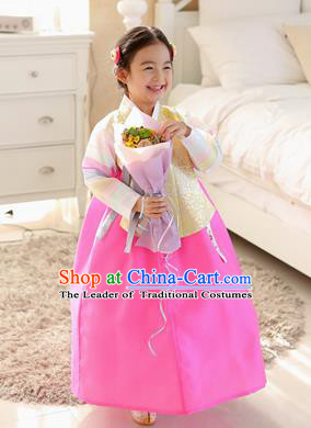 Korean National Handmade Formal Occasions Embroidered Yellow Blouse and Pink Dress, Asian Korean Girls Palace Hanbok Costume for Kids
