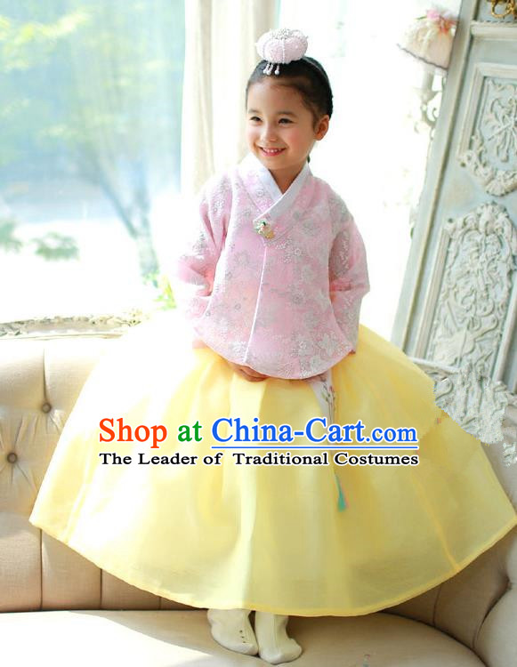 Korean National Handmade Formal Occasions Embroidered Pink Blouse and Yellow Dress, Asian Korean Girls Palace Hanbok Costume for Kids