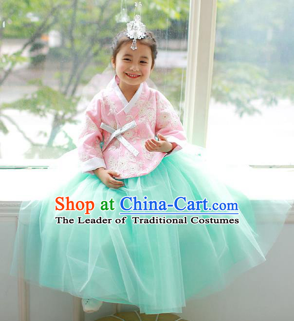 Korean National Handmade Formal Occasions Embroidered Pink Blouse and Green Dress, Asian Korean Girls Palace Hanbok Costume for Kids