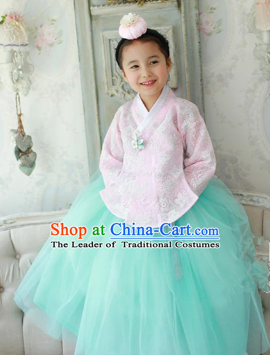 Korean National Handmade Formal Occasions Embroidered Pink Lace Blouse and Green Dress, Asian Korean Girls Palace Hanbok Costume for Kids