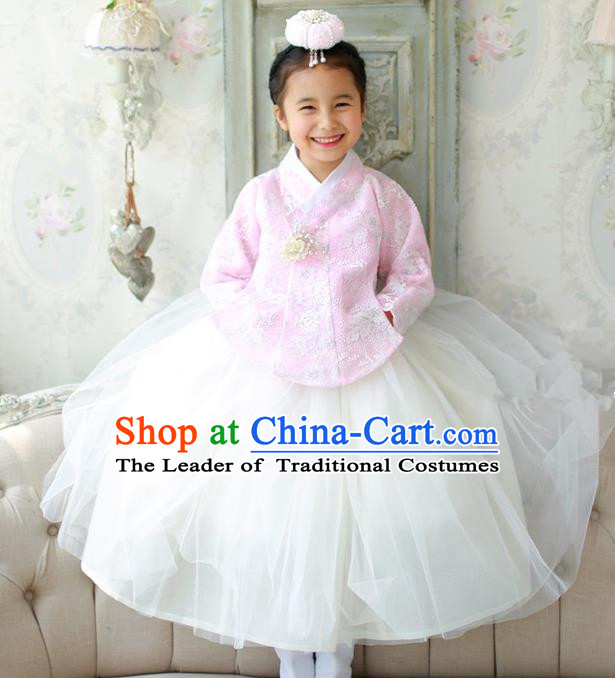 Korean National Handmade Formal Occasions Embroidered Pink Lace Blouse and White Dress, Asian Korean Girls Palace Hanbok Costume for Kids