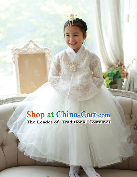 Korean National Handmade Formal Occasions Embroidered White Lace Blouse and Dress, Asian Korean Girls Palace Hanbok Costume for Kids