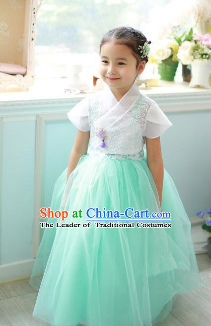 Korean National Handmade Formal Occasions Embroidered White Lace Blouse and Green Dress, Asian Korean Girls Palace Hanbok Costume for Kids