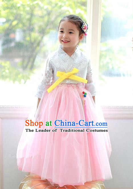 Korean National Handmade Formal Occasions Embroidered White Blouse and Pink Veil Dress, Asian Korean Girls Palace Hanbok Costume for Kids