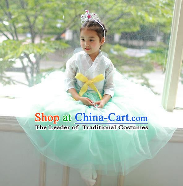 Korean National Handmade Formal Occasions Embroidered White Blouse and Green Veil Dress, Asian Korean Girls Palace Hanbok Costume for Kids