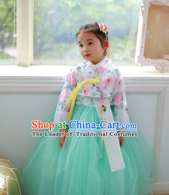Korean National Handmade Formal Occasions Printing Blouse and Green Veil Dress, Asian Korean Girls Palace Hanbok Costume for Kids