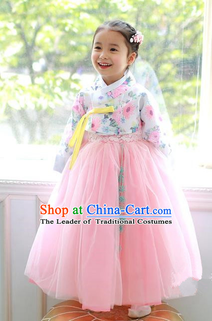 Korean National Handmade Formal Occasions Printing Blouse and Pink Veil Dress, Asian Korean Girls Palace Hanbok Costume for Kids