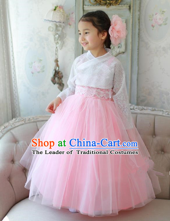 Korean National Handmade Formal Occasions White Lace Blouse and Pink Veil Dress, Asian Korean Girls Palace Hanbok Costume for Kids