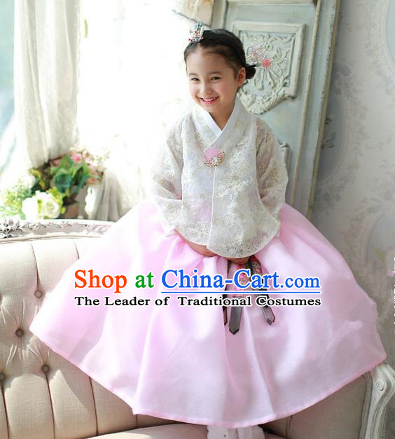 Korean National Handmade Formal Occasions White Embroidered Blouse and Pink Dress, Asian Korean Girls Palace Hanbok Costume for Kids