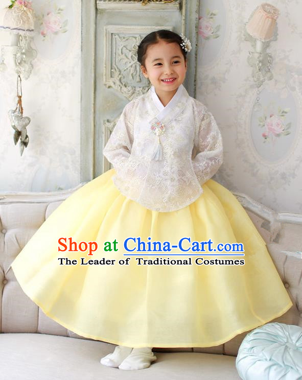 Korean National Handmade Formal Occasions White Embroidered Blouse and Yellow Dress, Asian Korean Girls Palace Hanbok Costume for Kids