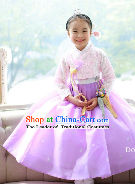 Korean National Handmade Formal Occasions Embroidered Pink Blouse and Purple Dress, Asian Korean Girls Palace Hanbok Costume for Kids