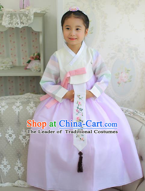 Korean National Handmade Formal Occasions Embroidered White Blouse and Purple Dress Hanbok Costume for Kids