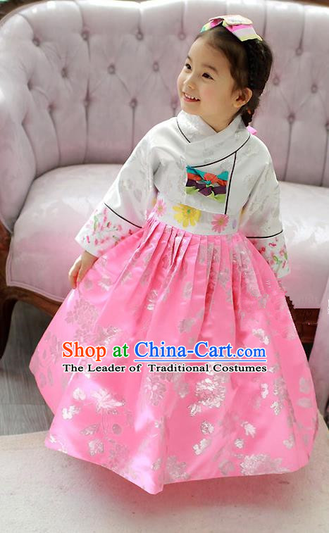 Korean National Handmade Formal Occasions Embroidered White Blouse and Pink Dress Hanbok Costume for Kids