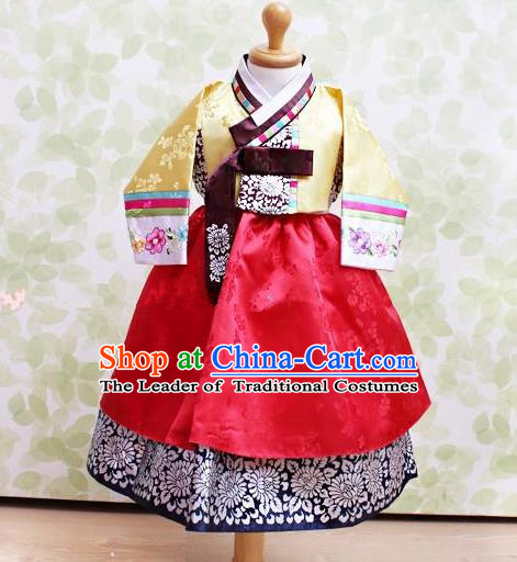 Korean National Handmade Formal Occasions Embroidered Yellow Blouse and Red Dress Hanbok Costume for Kids