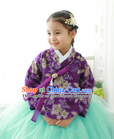 Korean National Handmade Formal Occasions Embroidered Purple Blouse, Asian Korean Girls Palace Hanbok Shirts Costume for Kids