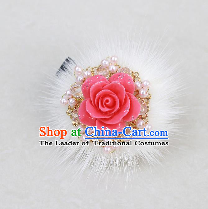 Traditional Korean Hair Accessories Rose Pearls Hair Stick, Asian Korean Wedding Hanbok Hair Decorations Headwear for Kids